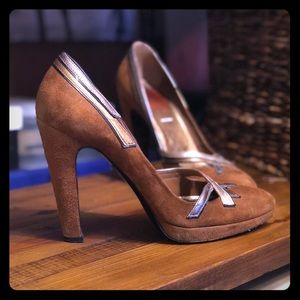 Prada brown suede deco heels